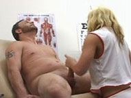 A male patient getting jerked off by a clothed nurse